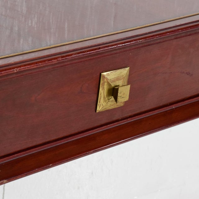 Brass Mid Century Mexican Modernist Console Table Wall Desk Robert & Mito Block For Sale - Image 7 of 10