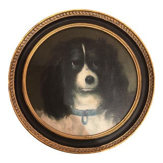 Framed King Charles Spaniel Oil on Wood