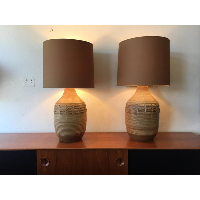 These are a pair of Bob Kinzie art pottery lamps! These were hand thrown studio lamps, made by Bob Kinzie in California....