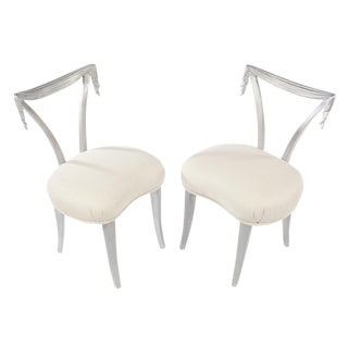 1940's VINTAGE GROSFELD HOUSE SILVER CHAIRS- A PAIR For Sale