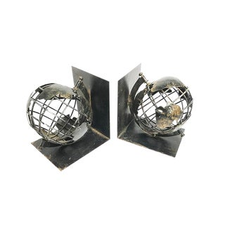 Vintage Mid-Century Spinning Metal Globe Bookends - A Pair For Sale