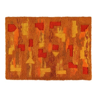 Orange and Yellow Op Pop Mod Woven Tapestry / Rug - 3′6″ × 5′5″ For Sale