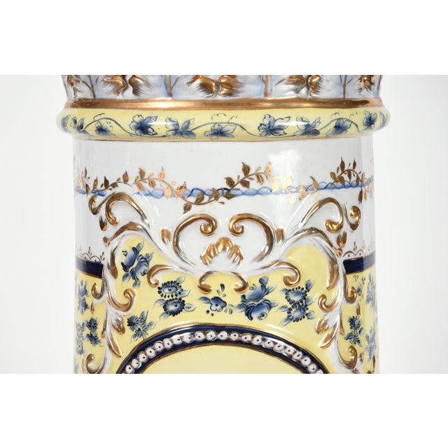 French Neoclassical Style Porcelain Plant Stand With Cache Pot - 2 Pc. Set For Sale - Image 4 of 13
