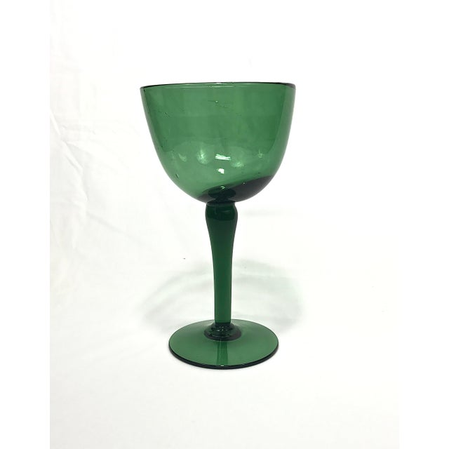Art Glass 1960s Green Blown Glass Compote For Sale - Image 7 of 7