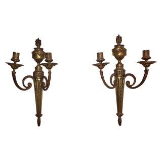 19th Century French Louis XVI Style Bronze Cast 2 Arms Sconces - a Pair For Sale