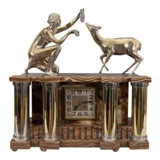 Art Deco Bronze Nude Figure Onyx Clock For Sale