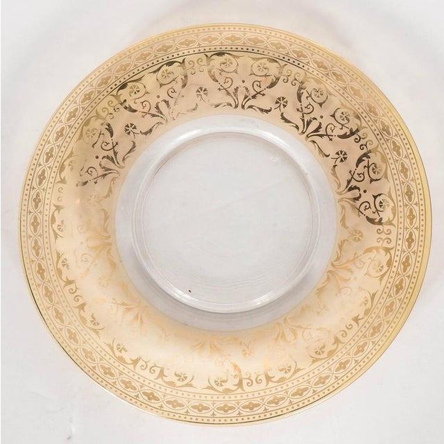 French Splendid Set of Six Antique Gilded and Sterling Overlay Glass Dessert Plates For Sale - Image 3 of 11