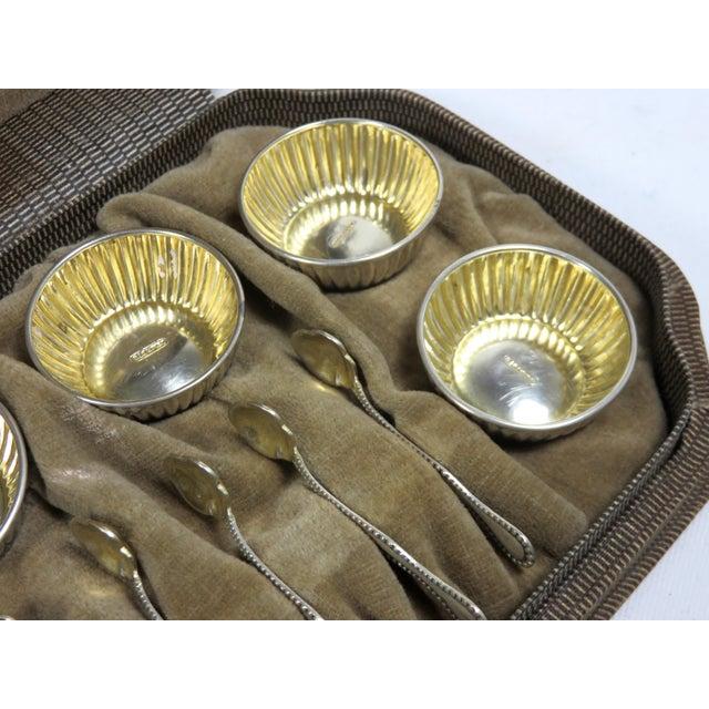 Metal Vintage Sterling Silver Open Salt Cellars & Spoons - 12 Piece Set For Sale - Image 7 of 13