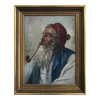 1960s Vintage Bearded Man in Red Cap Smoking Portrait Painting For Sale