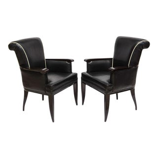Pair of Late Art Deco Ebony De Macassar and Leather Armchairs, Jean Pascaud For Sale