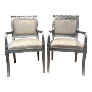 Emerson Et Cie Silver Metallic Chairs With Custom Kravet Fabric For Sale