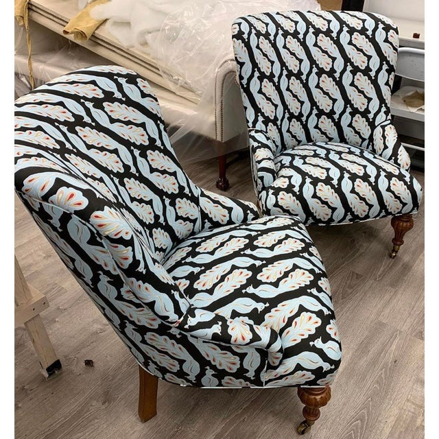 Upholstered Peacock Print Chair For Sale In New York - Image 6 of 8