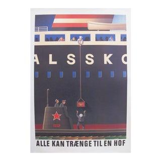 Original 1980's Danish Design Poster, Russian Submariners