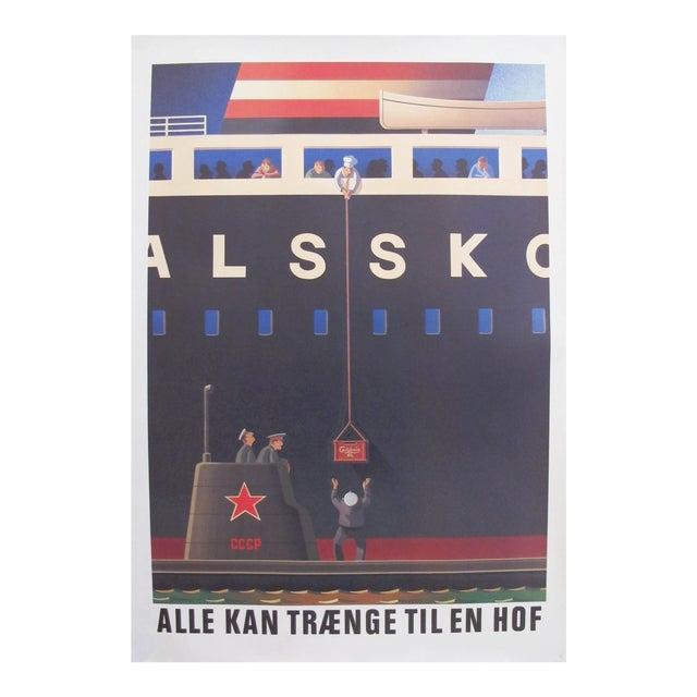 Original 1980's Danish Design Poster, Russian Submariners For Sale
