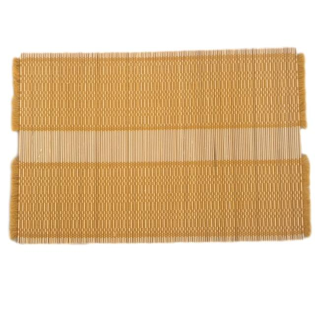 Mustard Woven Straw Placemats - Set of 4 - Image 2 of 5
