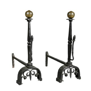 Pair of Wrought Iron and Brass Andirons Attributed to Samuel Yellin