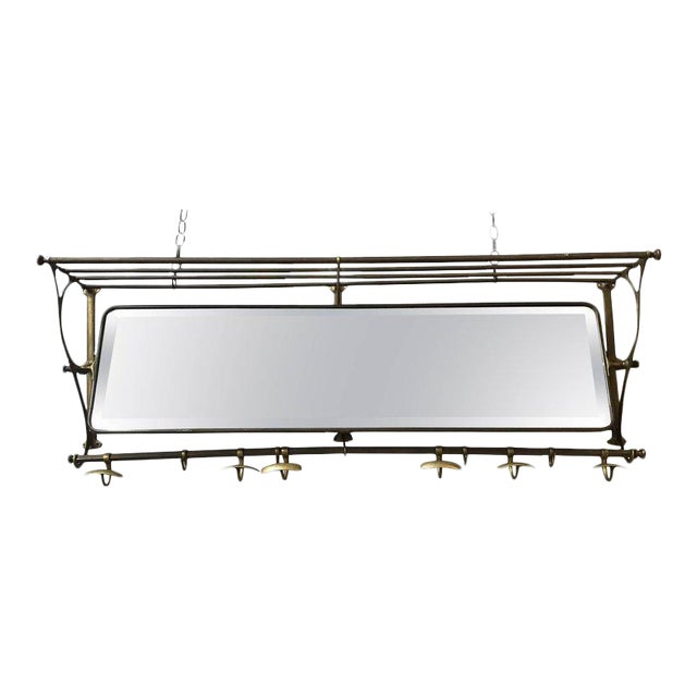 Brass Coat Rack With Mirror and Hooks - Image 1 of 9