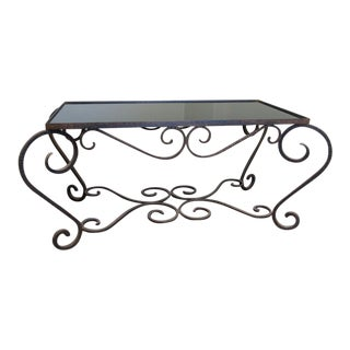 Vintage Iron & Glass Coffee Table For Sale
