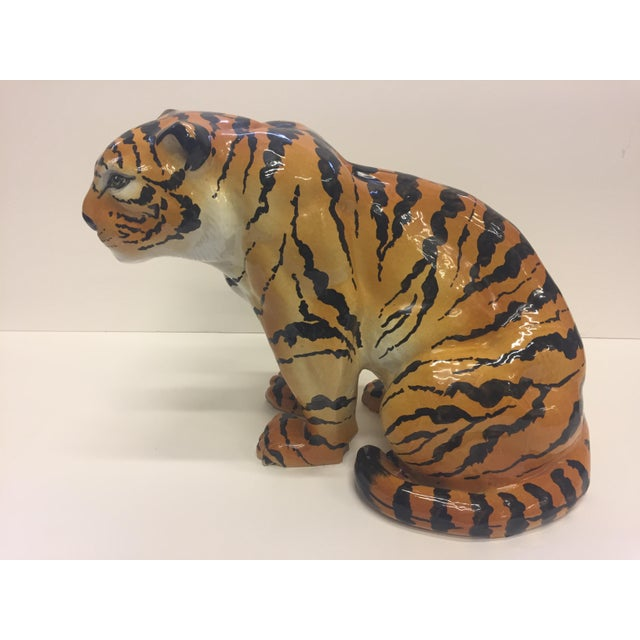 Italian Terracotta Seated Tiger Sculpture For Sale - Image 11 of 11
