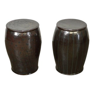 Glazed Pottery Pair of Signed Garden Stools For Sale