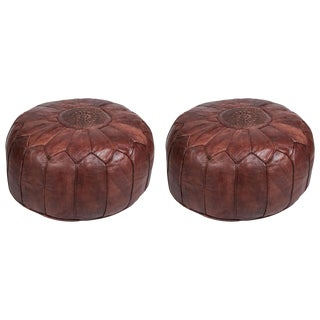 Pair of Large Brown Moroccan Hand Tooled Leather Poufs Ottomans For Sale
