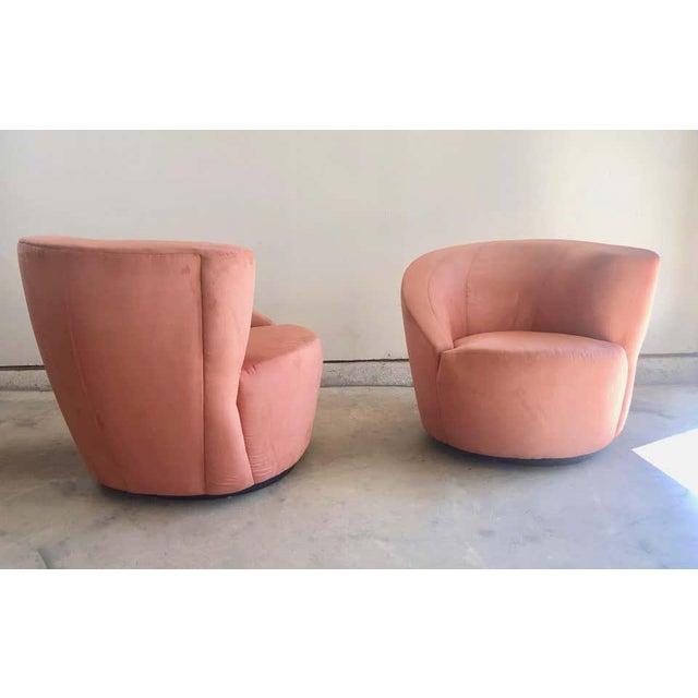 """Wood Vladimir Kagan for Directional """"Nautilus"""" Swivel Chairs - A Pair For Sale - Image 7 of 13"""