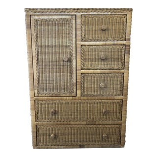 1960s Vintage Henry Link Style Wicker Chest of Drawers For Sale