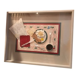 """Power Breakfast"" Textile Art in Shadow Box For Sale"
