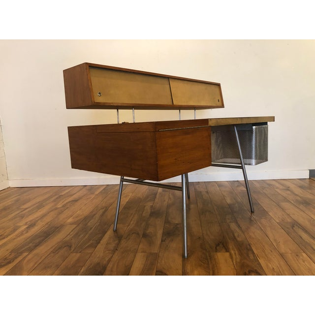 Mid-Century Modern George Nelson for Herman Miller Walnut, Steel and Leather Mid Century Desk For Sale - Image 3 of 12