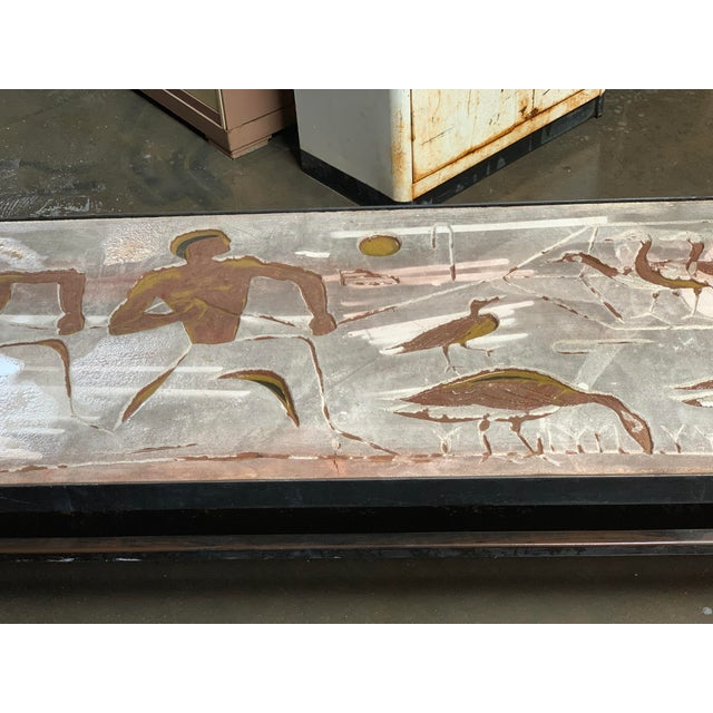 1960s Long Heavy Mid-Century Signed Stone Egyptian Scene Carved Coffee Table For Sale - Image 4 of 11