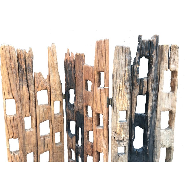 Contemporary 20th Century Distressed Wood Screen For Sale - Image 3 of 5