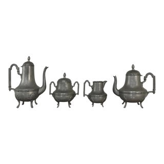 Antique French Pewter Coffee & Tea Set For Sale