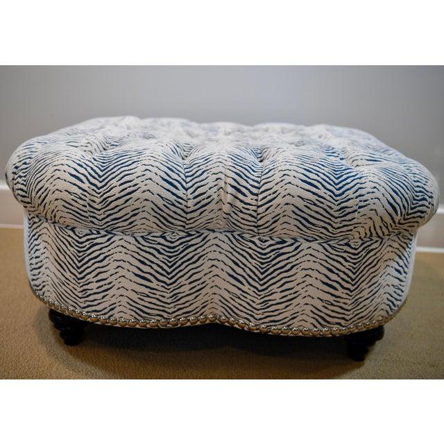 Contemporary Kravet Upholstered Contemporary Tufted Oversized Round Ottoman Walnut Legs Animal Zebra Blue Cream Nailheads For Sale - Image 3 of 11