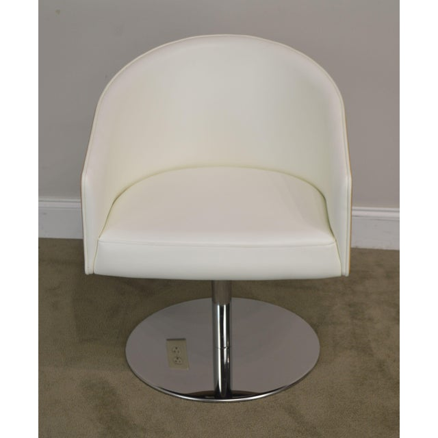 White Leather & Zebra Wood Barrel Back Pair Chrome Pedestal Swivel Lounge Chairs by Cape (F) For Sale - Image 4 of 13