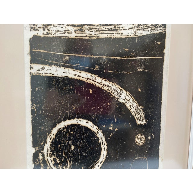 """Mid-Century Modern Mid-Century Modern Space Age Wood-Block Print """"Away From the Earth"""" 2/20 by Chin Sung For Sale - Image 3 of 13"""