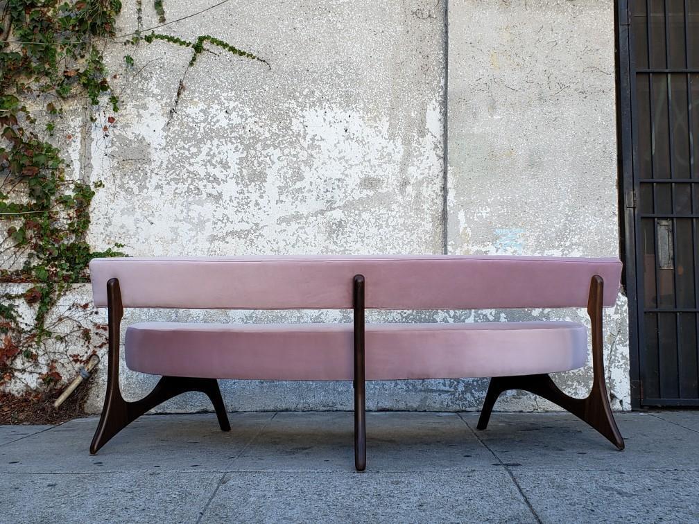 Boomerang Blush Pink Velvet Walnut Sculpted Sofa Chairish