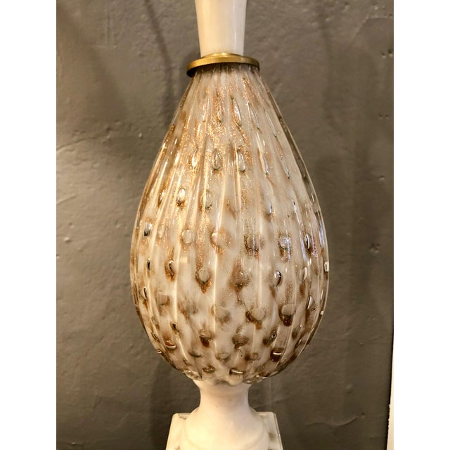 find from a NYC Estate. Exquisite Murano glass and alabaster lamp, most likely Marbro. Bulbous ribbed Murano glass tear...