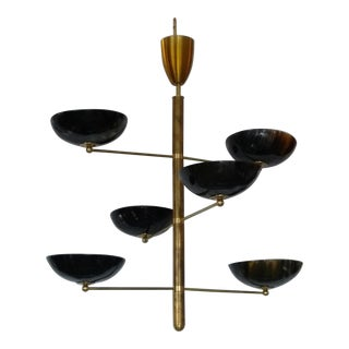 Modern Brass & Horn Hanging Light For Sale