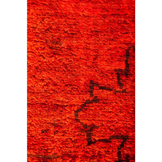 "Red Over-Dyed Hand Knotted Runner -- 3' X 7'10"" - Image 3 of 3"