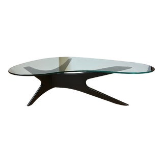 Scandinavian Designs Sculptural Glass Coffee Table For Sale