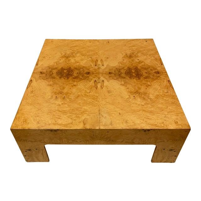 Modern Burlwood Coffee Table Att. Milo Baughman For Sale