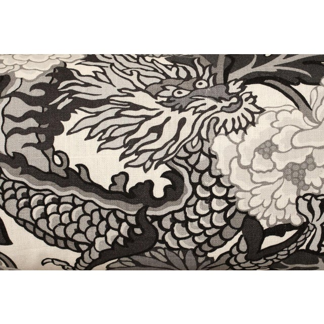 Chinoiserie Long Lumbar Pillow in Scalamandré Chiang Mai Dragon 100% Linen For Sale - Image 3 of 5