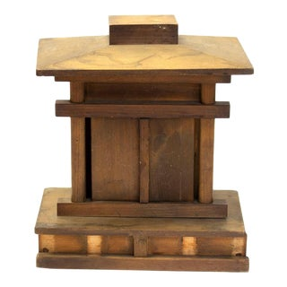 Early 20th Century Japanese Wooden Shrine With Daikoku and Ebisu For Sale