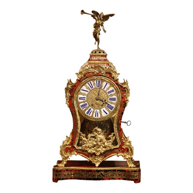 Mid-20th Century French Tortoiseshell and Bronze Boulle Mantel Clock With Base For Sale