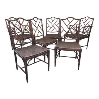 Chinese Chippendale Faux Bamboo and Cane Dining Chairs - Set of 6