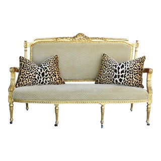 Early 1900s Italian Giltwood & Scalamandre Velvet Settee Sofa W/ Pair of Leopard Velvet Cushions/Pillows For Sale