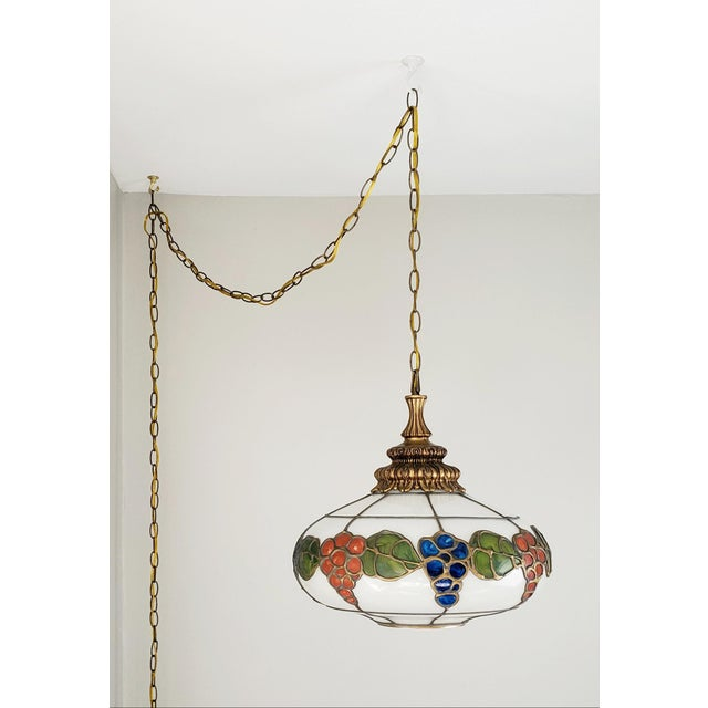 Mid-Century Ceiling Swag Lamp Hand Painted Glass Metal Overlay White Grape Leaves For Sale - Image 11 of 11