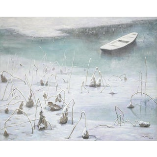 Frozen Lake Painting by Mu Xin For Sale