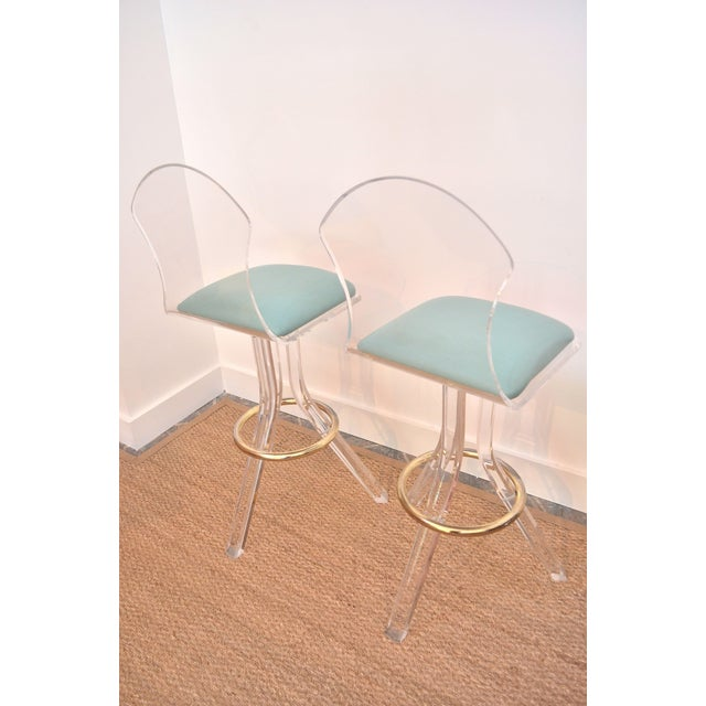Vintage Lucite Swivel Bar Stools - a Pair - Image 3 of 6
