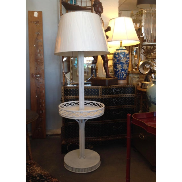 1930s Pencil Reed Floor Lamp Table For Sale - Image 13 of 13